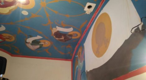 25 января 2018 года. Продолжается роспись потолка и стен храма